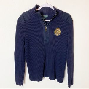 Ralph Lauren Navy Crest Half Zip Sweater